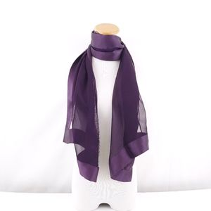 Purple Mulberry Silk Chiffon Inlay Long Neck Scarf